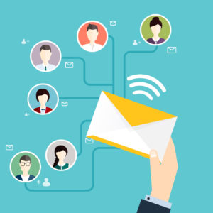Marceting oncept of running email campaign, email advertising,