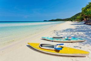 kayaks at the tropical beach
